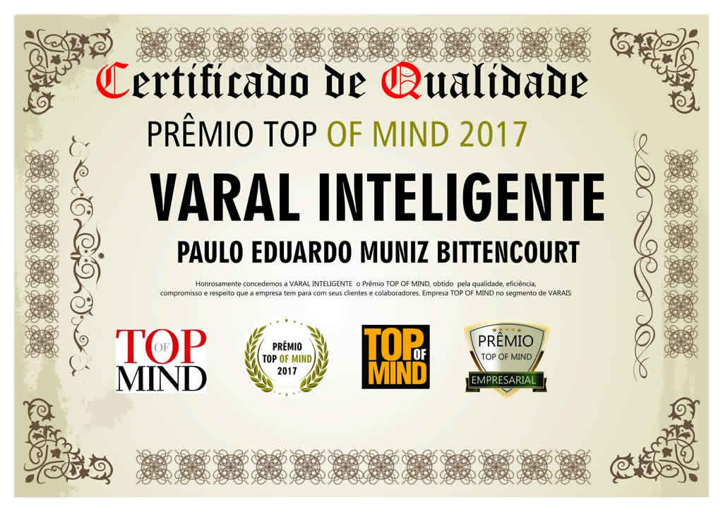 Top Of Mind 2017 na categoria VARAIS